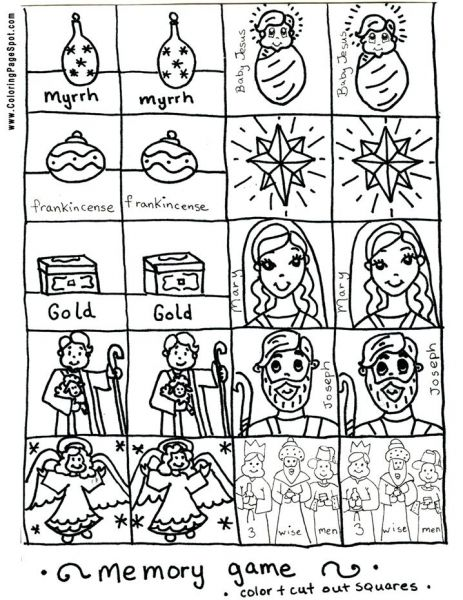 Christmas Printable Memory Game Coloring Page Christmas Printables Coloring Pages Kids Church