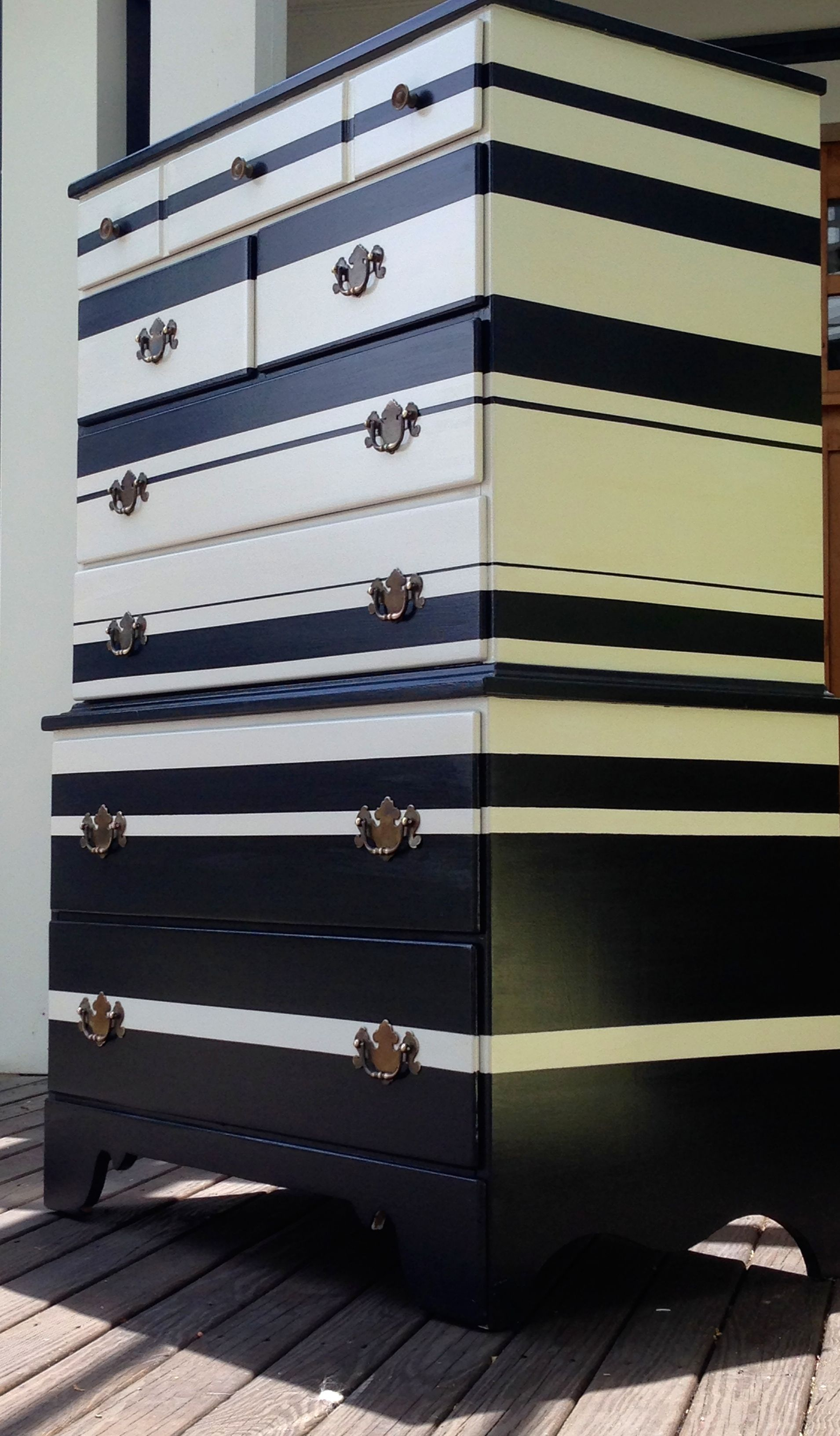 Best Black And White High Gloss Stripe Tall Dresser Black Painted Furniture White And Gold Decor 400 x 300
