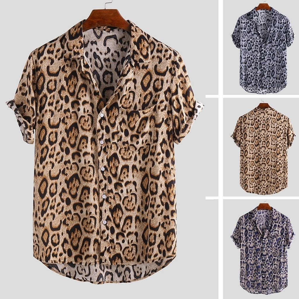 Newest Casual Turn-Down Collar Print Button Down Shirt Top