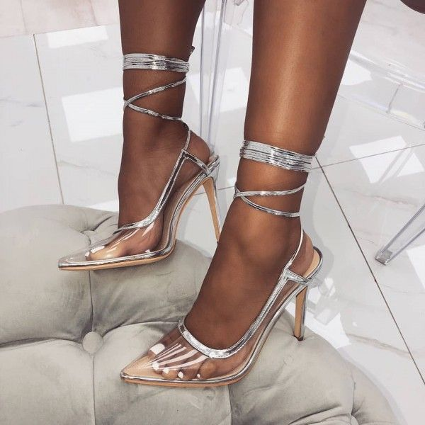 479baecd8ffb Jewel Embellished Perspex Clear Strap Stiletto Heels Silver in 2019 ...