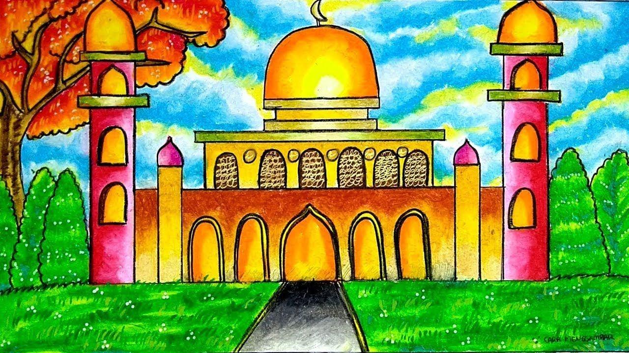 Cara Menggambar Dan Mewarnai Masjid Gradasi Warna Oil Pastel