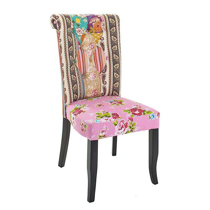 """Bequemer Designerstuhl. Ob als Einzelstück oder als Quartett – der Polsterstuhl """"Patchwork"""" in modernen Pinktönen ist ein echter Hingucker und ideal für den Esstisch. #landhaus #patchwork #home #wohnen #einrichtung #weltbild"""