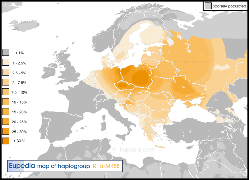 Distribution of haplogroup R1a-M458 in Europe | Eupedia Maps | Map