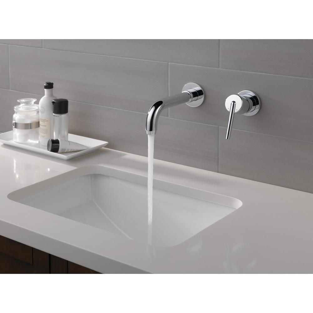 Delta Trinsic 1 Handle Wall Mount Bathroom Faucet Trim Kit In Chrome Valve Not Included T3559lf Wl Wall Mount Faucet Bathroom Bathroom Faucets Wall Faucet