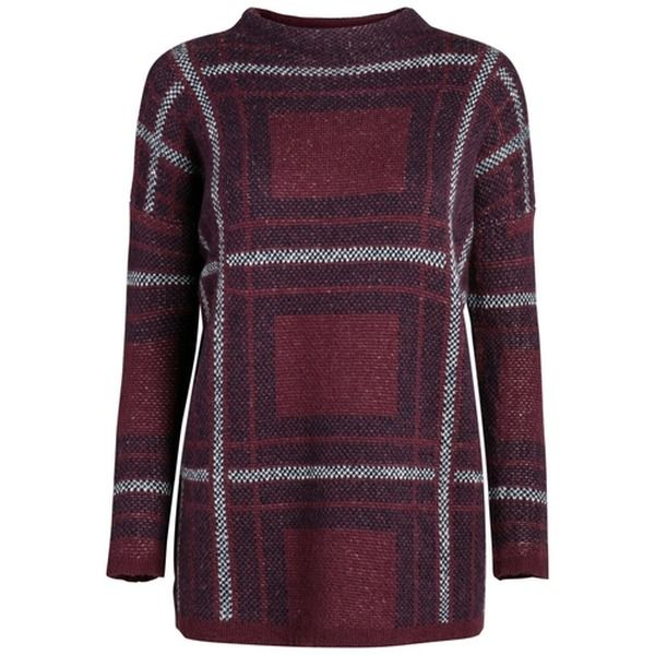 PIECES Gemusterter Pullover rot
