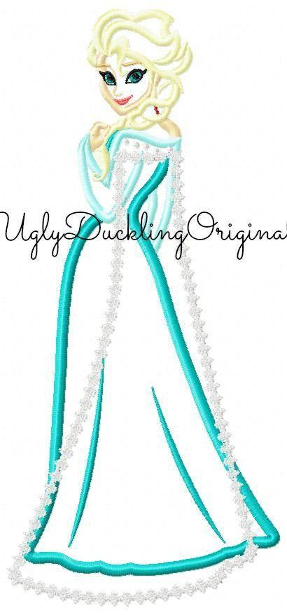 Frozen Elsa Applique Design Queen Full Body Original Artwork by ...