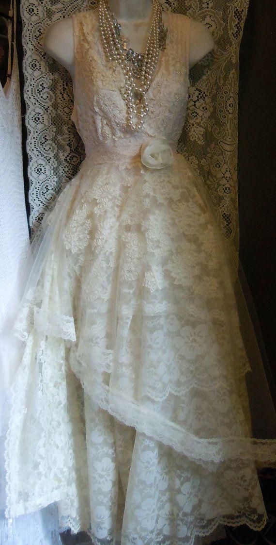 Cream wedding dress tiered lace tulle cupcake vintage tea bride ...