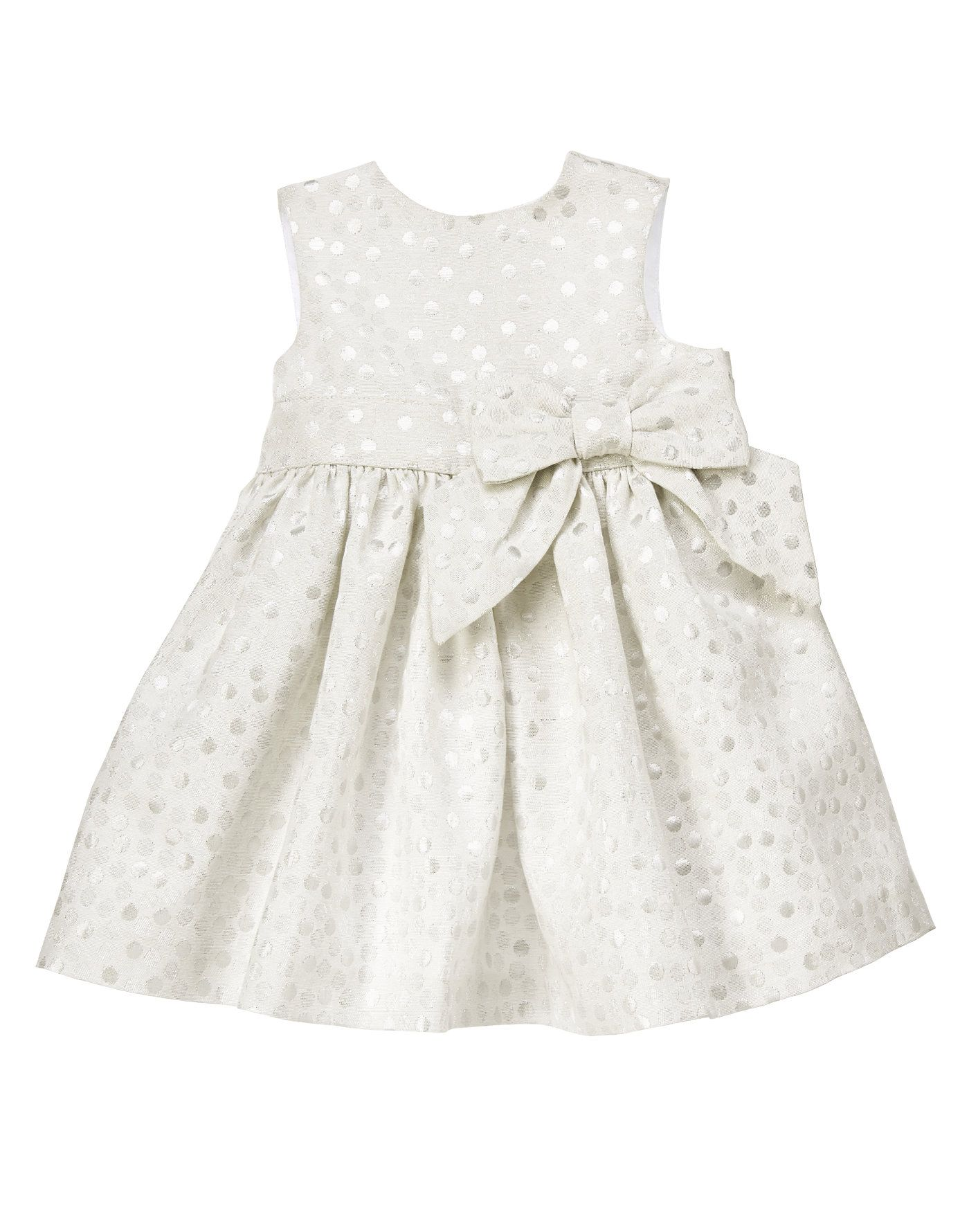 Fancy brocade dress with sparkly dots and a sweet sash