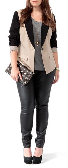 Contrast Cutaway Blazer from Forever 21+.  Plus size.