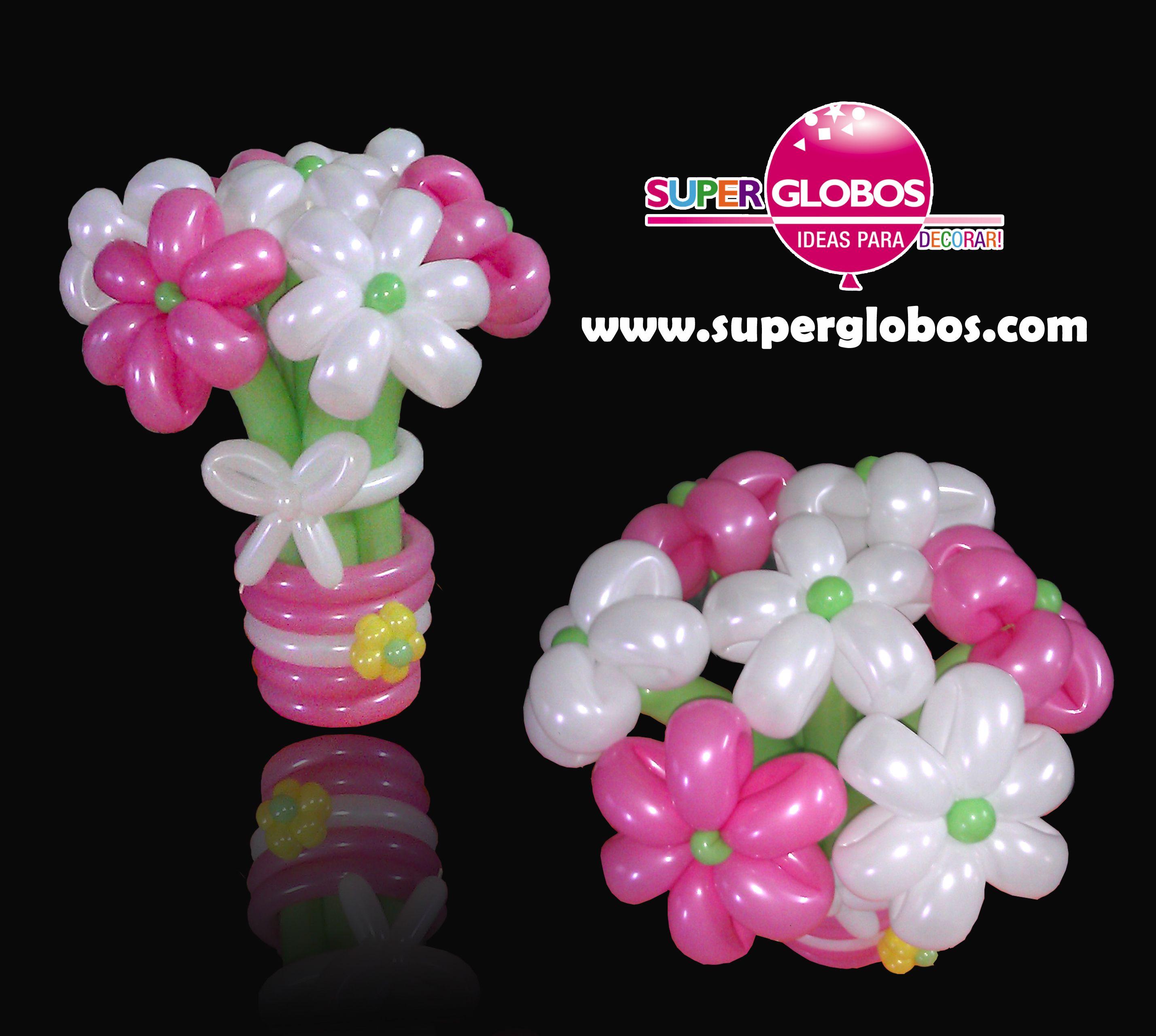 Ramo De Flores Con Globos Flowers Balloons Bouquet Decoracion Con