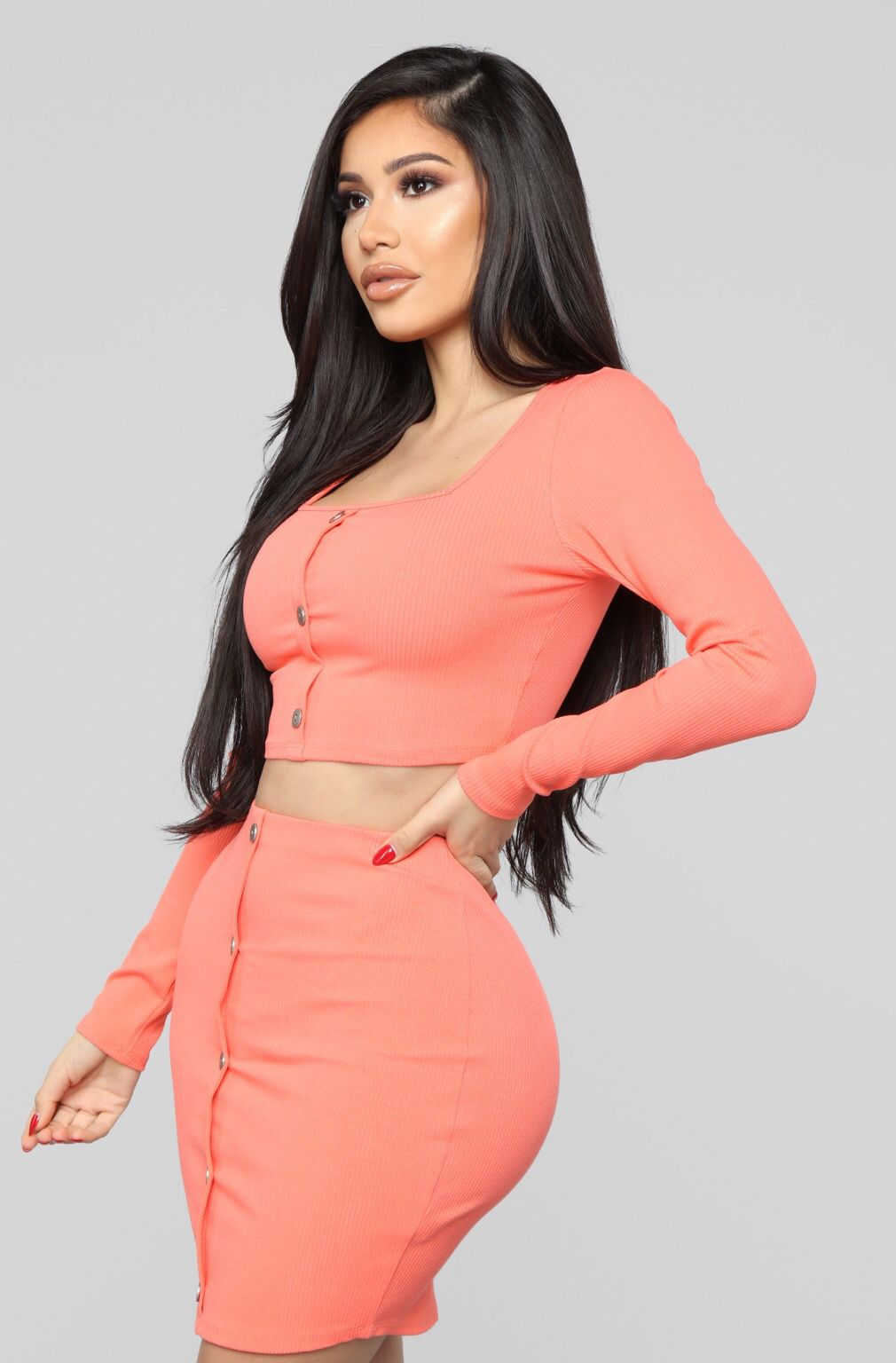53aaa58fbd82 Don't Push My Buttons Skirt Set - Coral Hot Outfits, Dress Outfits,