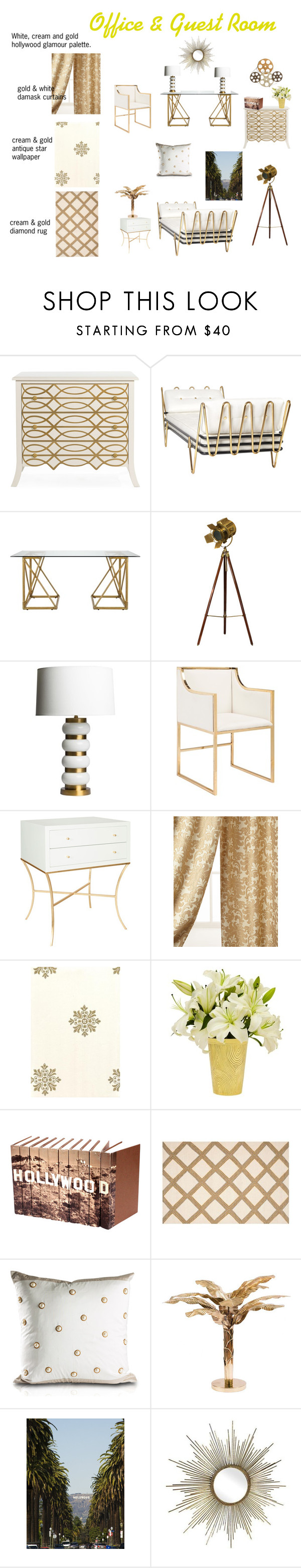 """""""Office & Guest Room"""" by canoe-communicationsblog ❤ liked on Polyvore featuring interior, interiors, interior design, home, home decor, interior decorating, Jonathan Adler, Selamat, Worlds Away and Austin Horn Collection"""