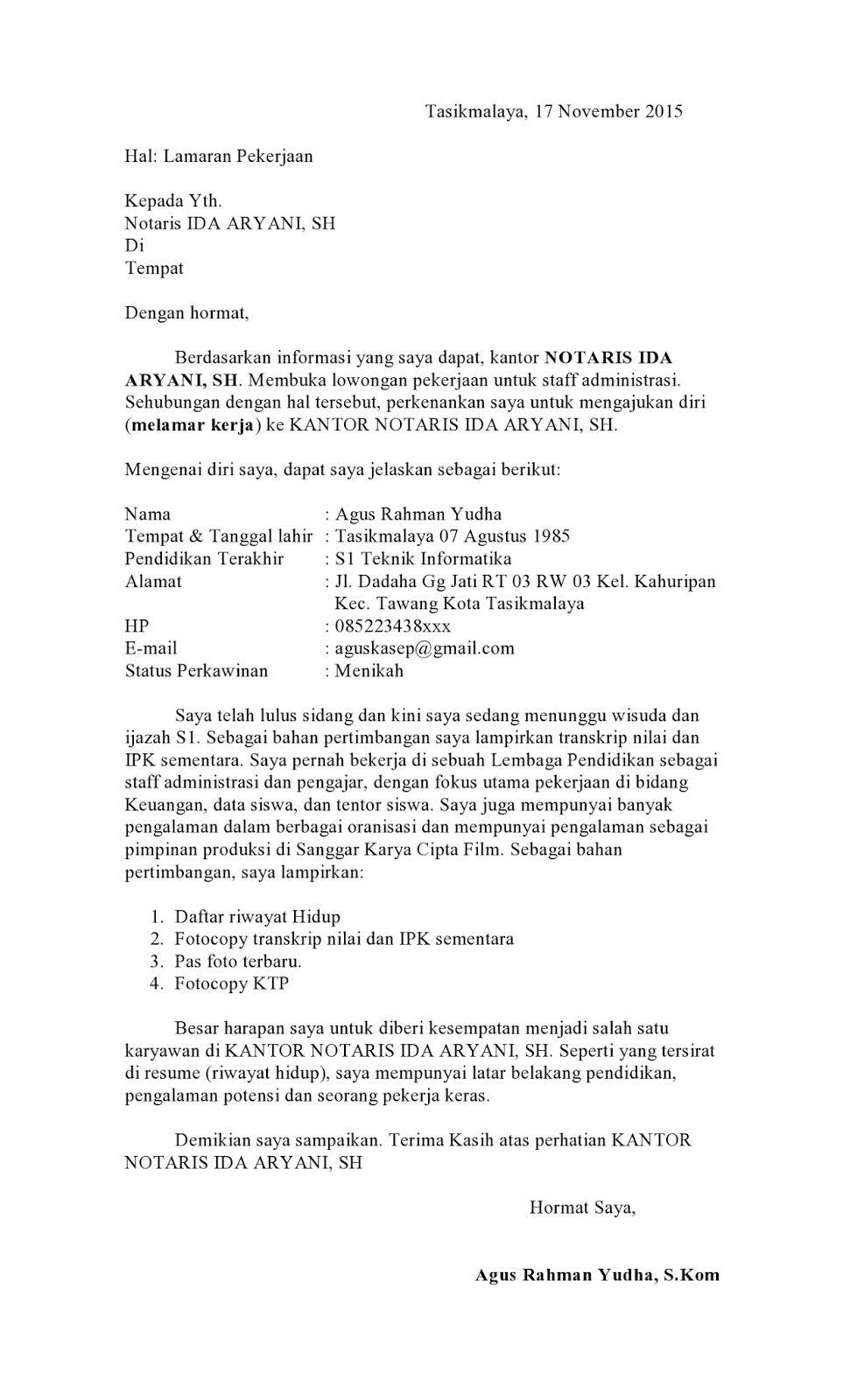 surat lamaran kerja notaris