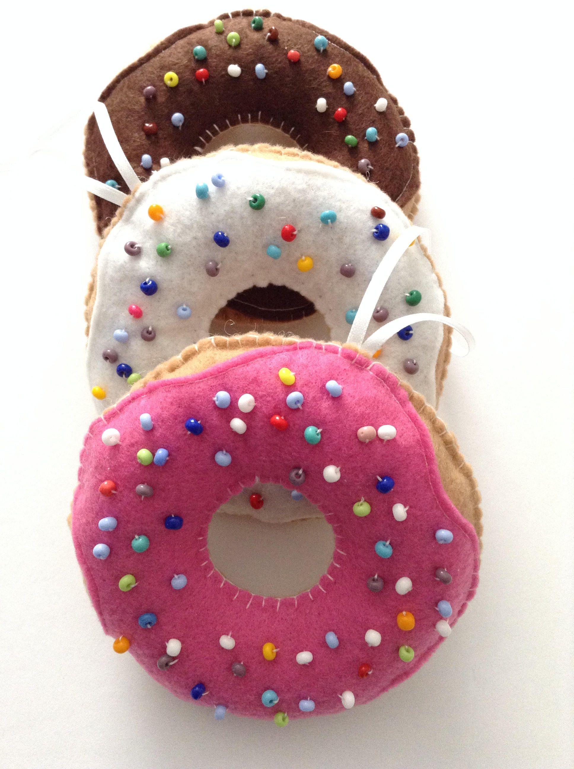 Donuts Felt Donuts Ornaments Set Of 3 Chocolate Vanilla Strawberry Handmade Do Handmade Felt Ornament Christmas Ornaments To Make Felt Donut Ornament