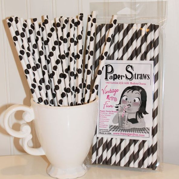 Black and white straws