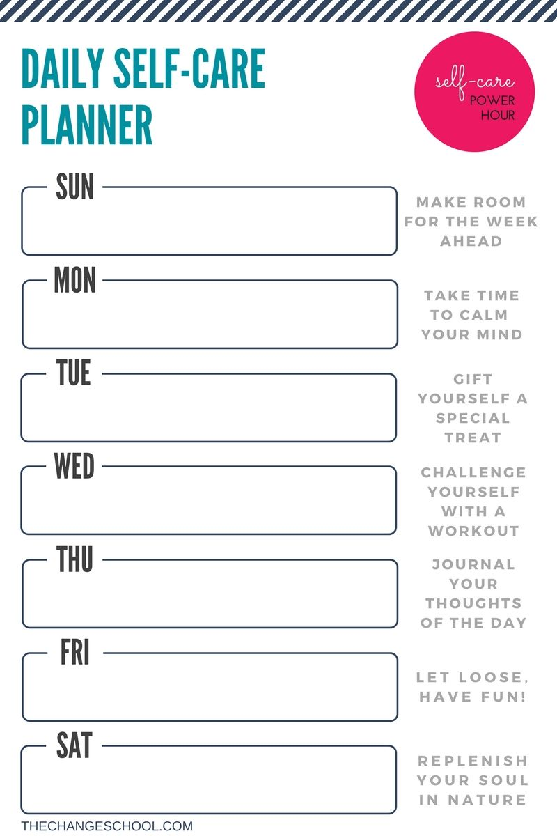 worksheet Self Care Worksheets a weekly self care planner to help you carve daily power hour just