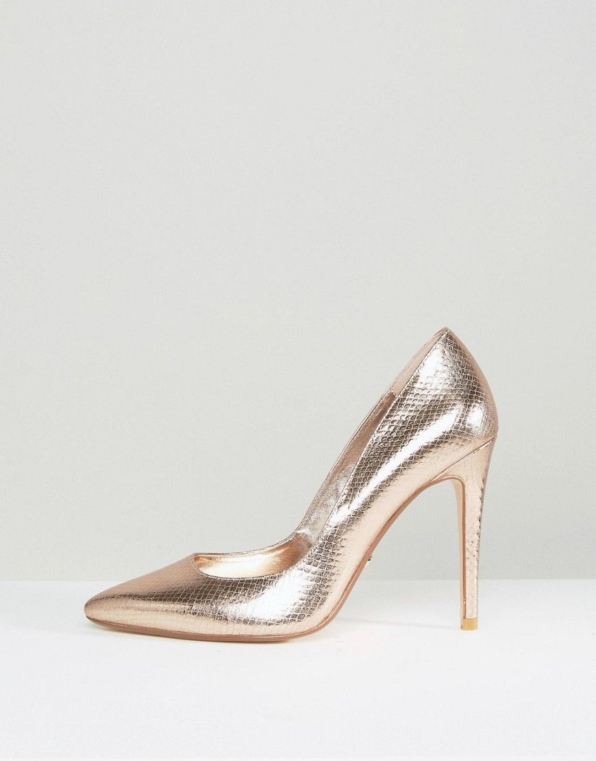 c590c68683f5 Dune Aiyana Rose Gold Metallic Heeled Court Shoe - Gold