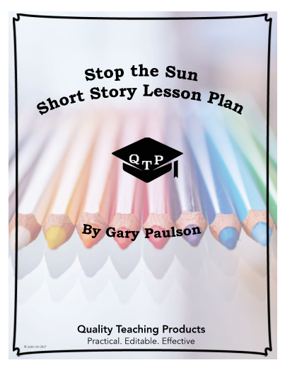 """""""Stop the Sun"""" by Gary Paulson Worksheet and Answer Key"""