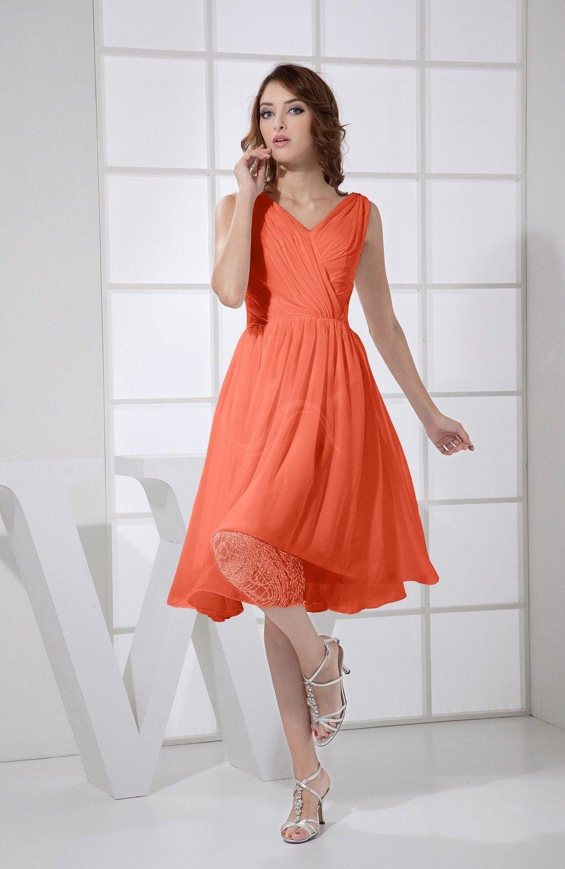 Persimmon prom dress plain aline vneck sleeveless knee length