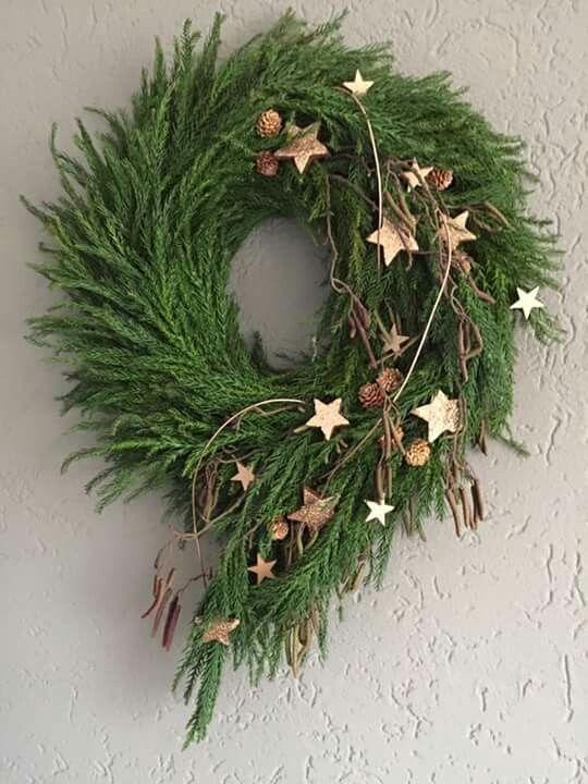 Photo of Winter gold star door wreath #florists Winter gold star door wreath