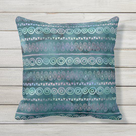 Boho Teal Purple Watercolor Tribal Stripe Pattern Outdoor Pillow | Zazzle.com