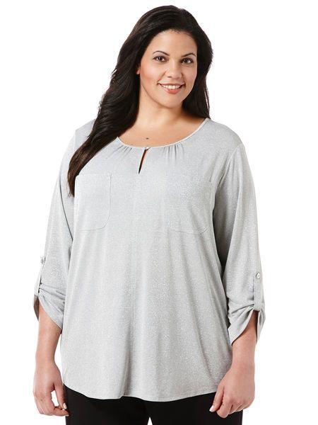 Sparkle Heather Knit Top - Woman Plus