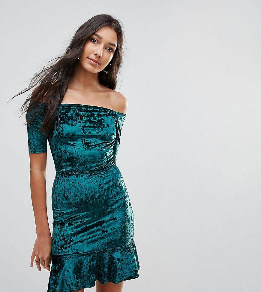 Velvet Off Shoulder Pephem Dress - Dark green Oh My Love Tall Websites Online Cheap Authentic Cheap Sale Choice Discount The Cheapest nv4BuecE