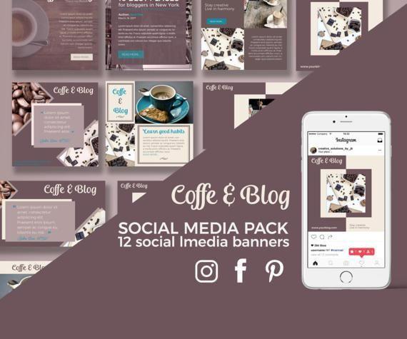 Coffee&Blog - 12 Social Media Template for Instagram, Facebook, Pinterest