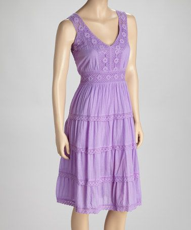 Take a look at this Purple Crochet Lace Dress by SR Fashions on #zulily today!
