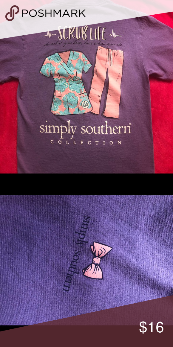 "d559f3ec5a0 Simply Southern scrub life T-shirt and lanyard Light purple with pink and  blue scrubs on back ""Scrub Life do what you love, love what you do"" Ss logo  on ..."