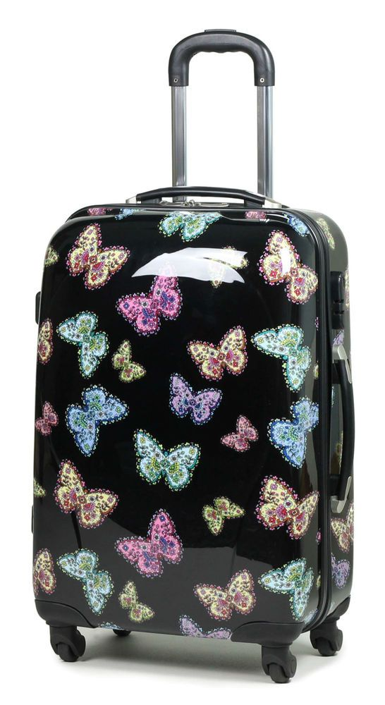 Multi Butterfly Travel Bag Hard Case Lightweight 4 Wheel Luggage ...