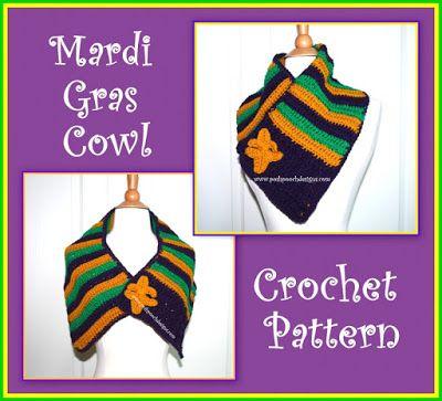 Mardi Gras Cowl With Fleur de Lis Pin Crochet Pattern   Holiday ...