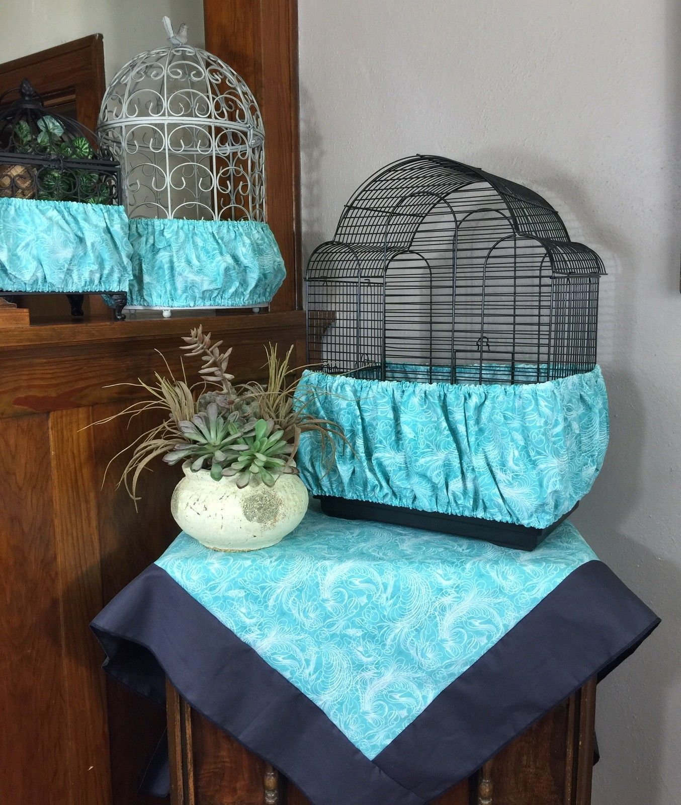 New handmade aqua fabric bird cage skirt seed catcher guard or cover xs xxl
