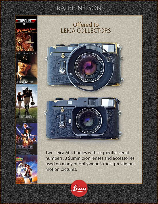 Ralph Nelson' Leica M4 cameras kit obtained by Leica Store Lisse
