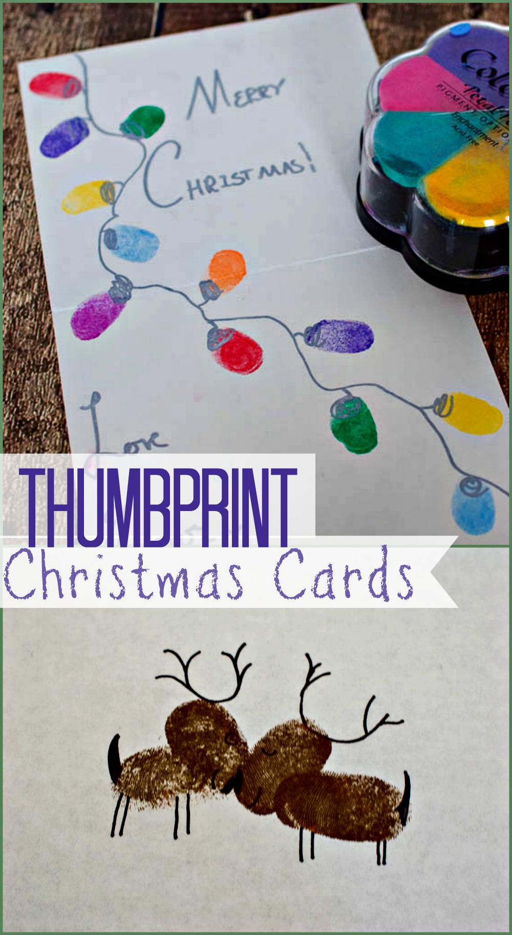 Thumbprint Christmas Cards Holiday Cards Diy Christmas Cards Kids Christmas Crafts Homemade Cards Diy Thumbprint Reindeer Thumbprint Christmas Light