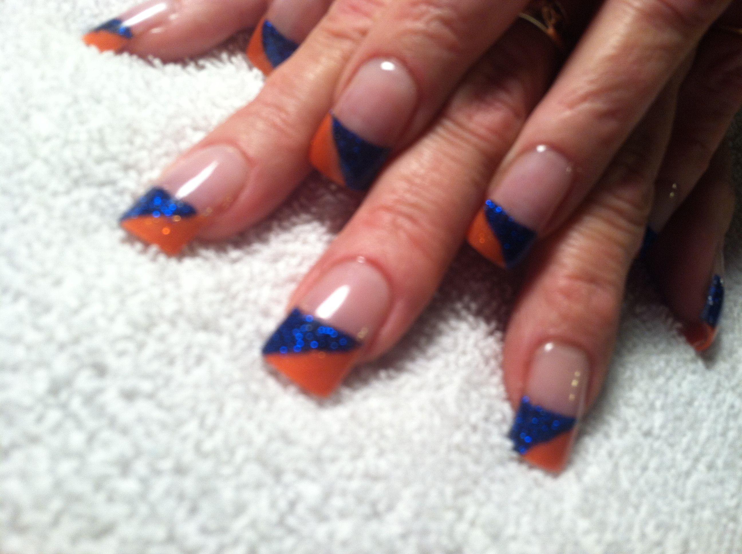 Acrylic blue and orange Denver Bronco Nails! | Nails | Pinterest ...