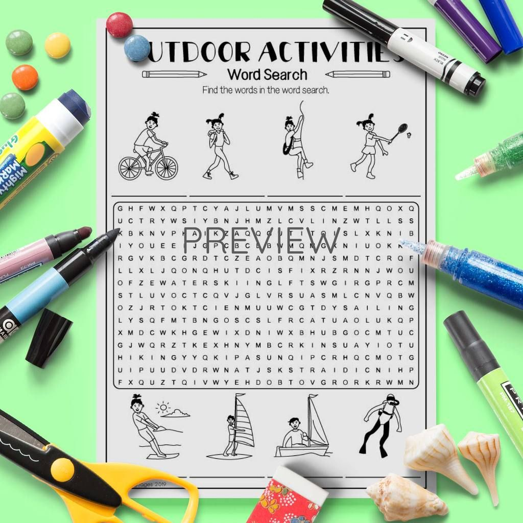 Outdoor Activities Word Search Nel Con Immagini