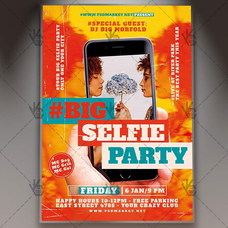 Selfie Party - Club Flyer PSD Template #cameraparty #club - free templates flyer