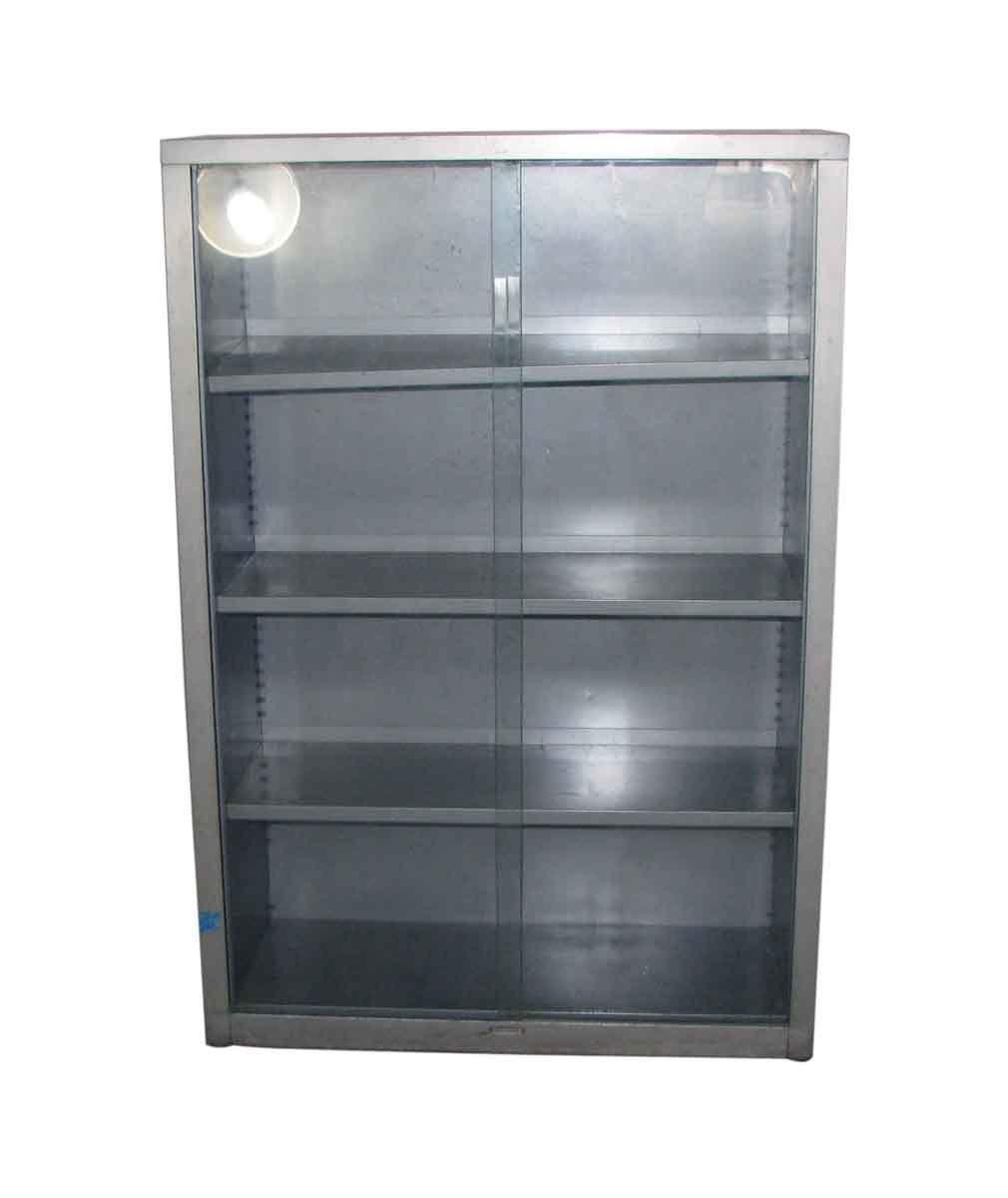 Vintage Metal Book Case With Glass Sliding Doors Sliding Glass Door Vintage Metal Cabinet Metal Shelves