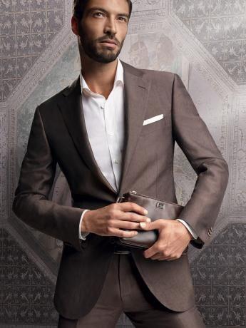 Wool/linen/silk poplin #suit. Unlined 2-button #jacket with 2 flap ...