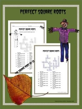 8th Grade Math Perfect Square Roots Crossword Puzzle Square
