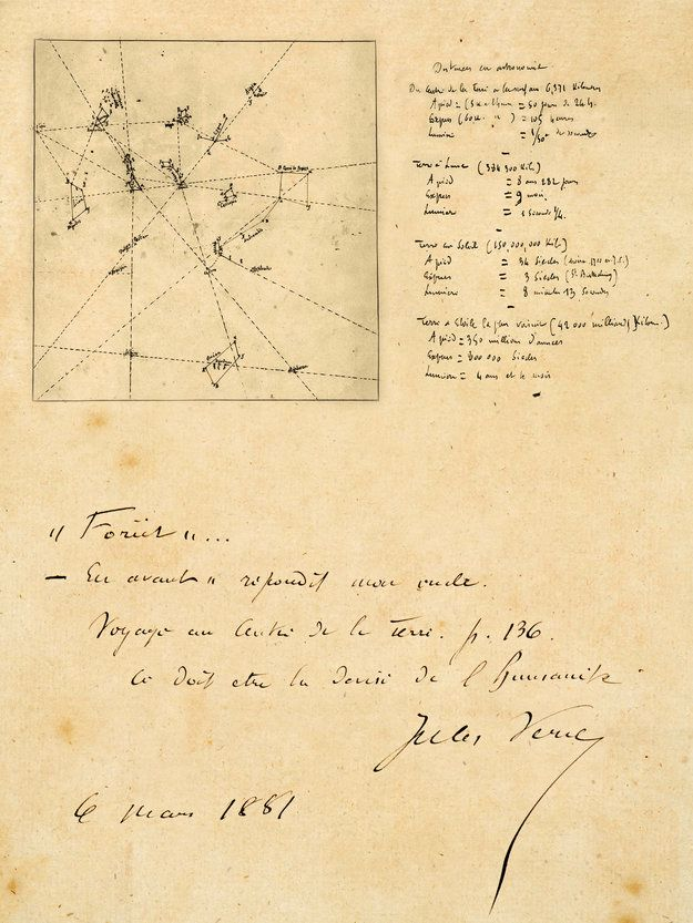 Jules Verne Manuscripts Jules Verne Celestial Chart World History Facts