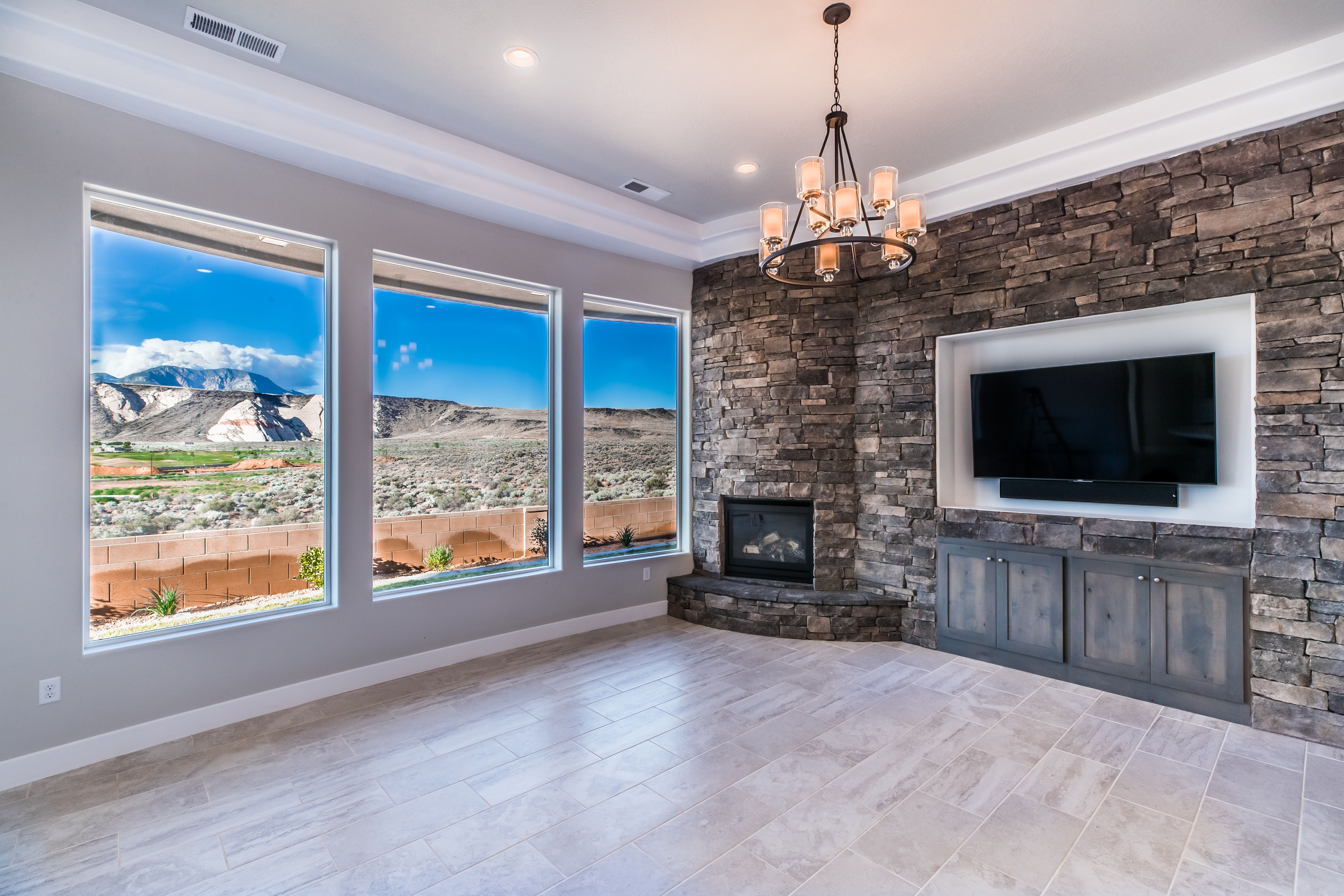 Fireplace And Entertainment Center With A View For More