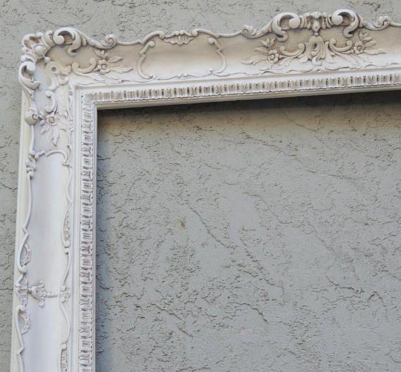 Ornate White Picture Frame 26x50 Large White Picture Frame Wall Gallery Frame White Wedding Frame For Chalkboard Vanity Bathroom Mirror White Picture Frames White Gallery Frames White Wedding Frame
