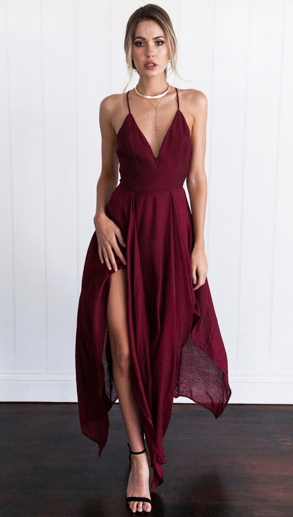 Cross back wine red assymetrical hem long dress dress to impress
