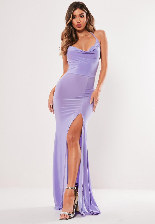 Lilac Slinky Cowl Neck Split Detail Maxi Dress Missguided Lilac Prom Dresses Satin Maxi Dress Shop Maxi Dresses