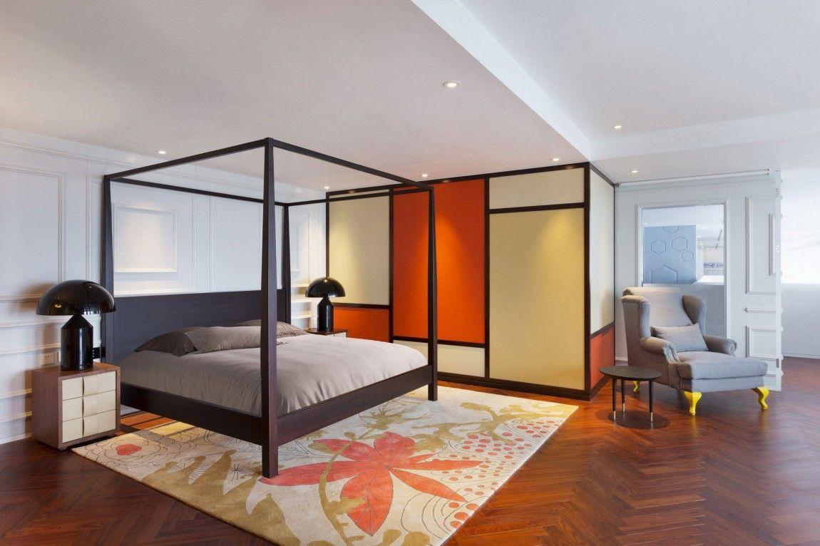 appartement chinois deco coloree chambre avec lit a baldaquin moderne