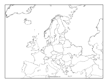 This Blackline Master Features A Map Of Europe Free To Download - Blank world map blackline master