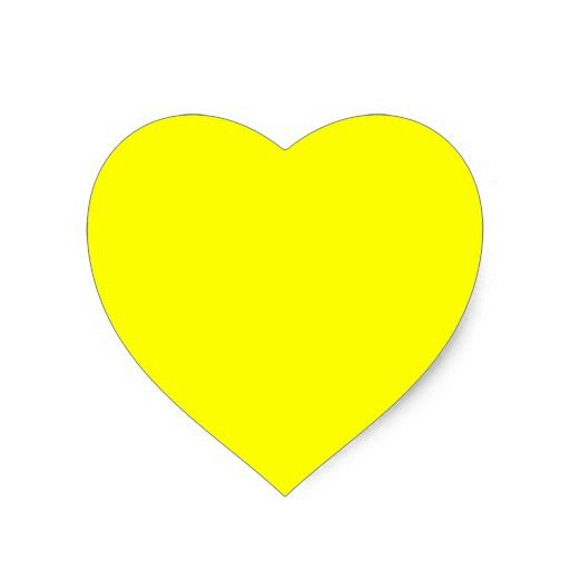 Sunshine Yellow Heart Shaped Sticker Heart Stickers Yellow Heart Print Stickers