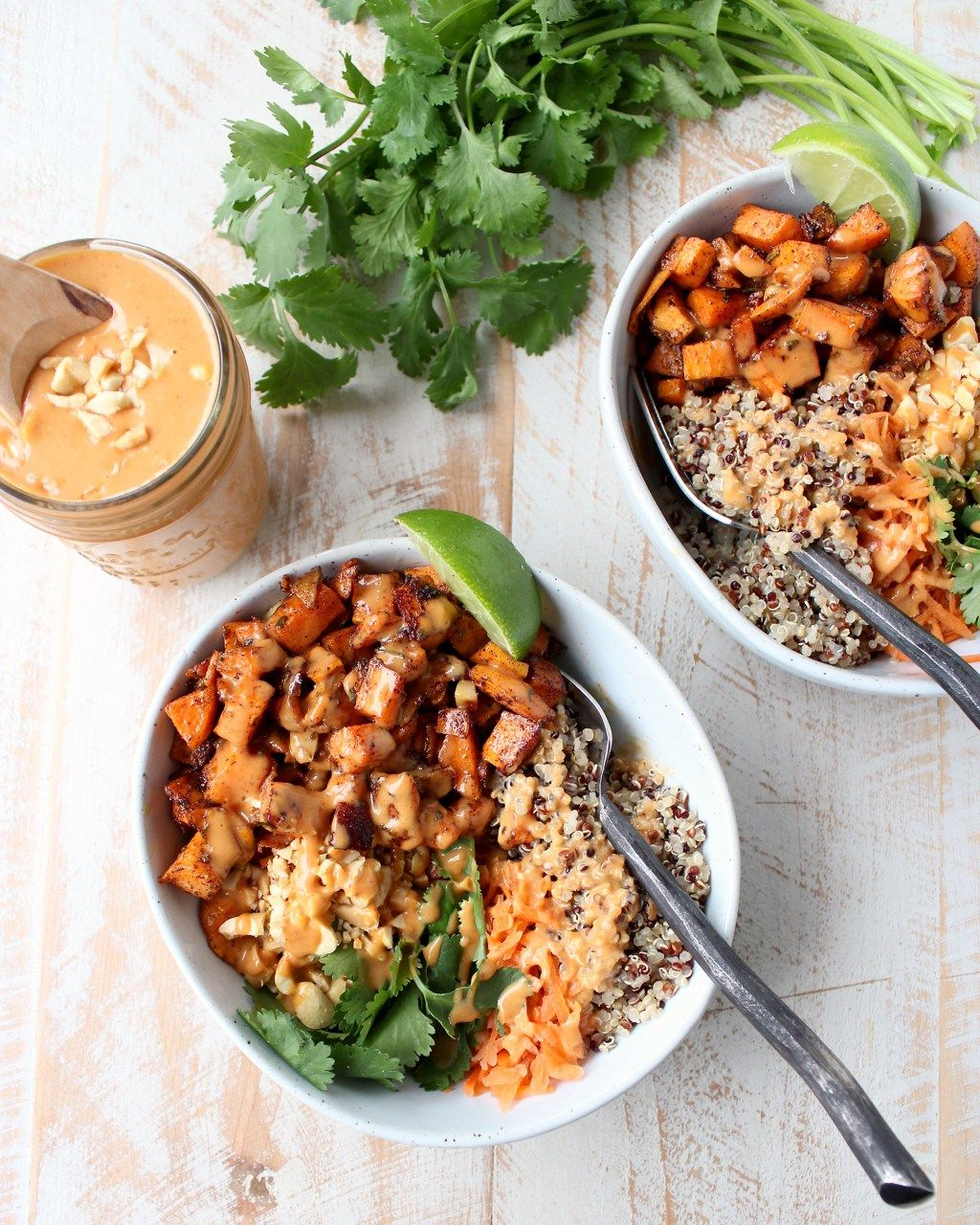Roasted sweet potatoes and quinoa are topped with